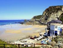Stranden St.Agnes, Cornwall. Arkivbilder