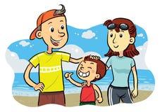 strandfamilj Stock Illustrationer