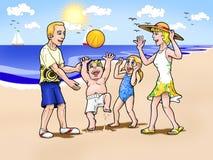 strandfamiljsemester stock illustrationer