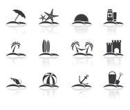 Strandferienikonen eingestellt stock abbildung