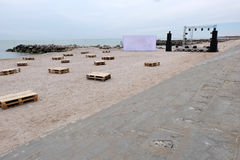 Strandfest bereitet sich vor Stockbilder