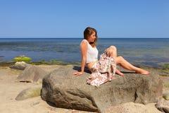 strandflicka Royaltyfri Fotografi