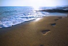 strandfotspår Royaltyfri Fotografi