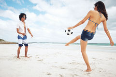 Strandfußball Brasilien Stockfoto