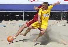 Strandfußballspiel zwischen Ukraine und Russland Lizenzfreies Stockfoto