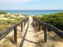 Strandgångbana nära sydliga Italien Arkivfoton