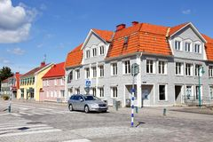 Strandgatan street Ronneby. Ronneby, Sweden - August 23, 2017: Buildings and a car at Strandgatan street in downtown Ronneby during day time stock photography