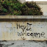 Strandgraffiti Stock Afbeelding