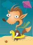 strandgyckel som har ungen Royaltyfria Bilder