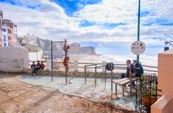 Strandgymnastiek, taghazoute dorp, Marokko Royalty-vrije Stock Afbeelding