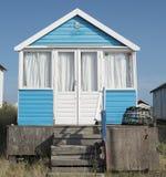 Strandhütten auf Mudeford-Sandbank Stockfotografie