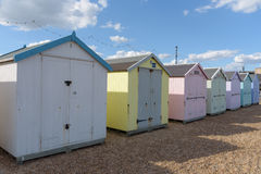 Strandhütten bei Felixstowe Stockfotografie