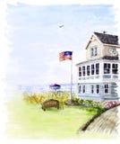 Strandhaus am Sommer lizenzfreie abbildung