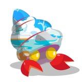 Strandhav inom Shell Cartoon Vector vektor illustrationer