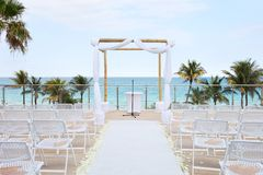 strandhav som förbiser bröllop Royaltyfria Foton