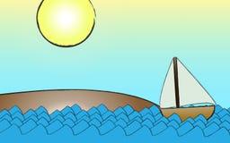 strandhavsegelbåt Royaltyfri Bild