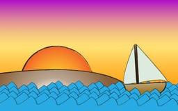 strandhavsegelbåt Royaltyfria Bilder