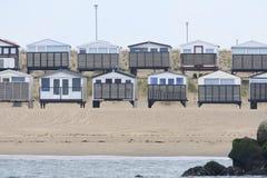 Strandhuisjes, cabines de la playa foto de archivo