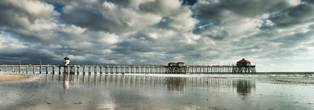 strandhuntington panorama- pir Royaltyfri Fotografi