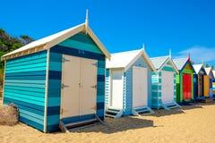 Strandhus i Brighton Beach Arkivfoton