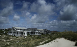 Strandhus på flintön, North Carolina, USA Royaltyfri Foto