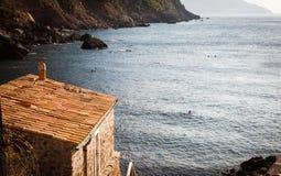 Strandhus, Puerto de Soller, Mallorca, Spanien royaltyfria bilder