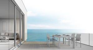 Strandhuset skissar designen, utomhus- äta middag med havssikt Arkivbild