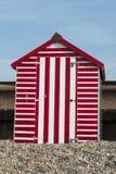 Strandhut in Seaton, Devon, het UK. Stock Afbeeldingen