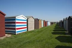 Strandhutten in Dovercourt, dichtbij Harwich, Essex, het UK. Royalty-vrije Stock Foto