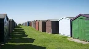 Strandhutten in Dovercourt, dichtbij Harwich, Essex, het UK. Royalty-vrije Stock Fotografie