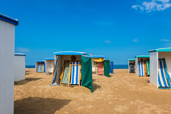 Strandhutten in Katwijk Nederland Stock Afbeelding