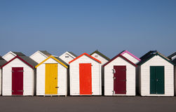 Strandhutten in Paignton, Devon, het UK. Stock Afbeelding