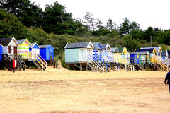 Strandhutten, Putten daarna het Overzees, Norfolk. Royalty-vrije Stock Afbeelding