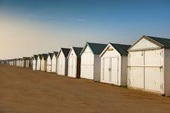 Strandhutten in Shoeburyness tijdens gouden uur worden genomen dat Royalty-vrije Stock Afbeeldingen