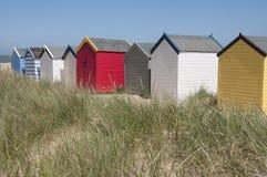 Strandhutten in Southwold, Suffolk, het UK. Stock Afbeelding