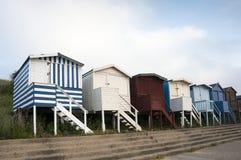 Strandhutten in Walton op Naze, Essex, het UK. Royalty-vrije Stock Foto