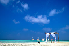 Strandhuwelijk op Maafushi-Strandlagune, Stock Foto's