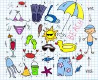 Strandikonenset, zeichnende Kinder, Vektor Lizenzfreies Stockfoto