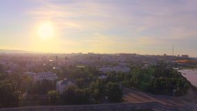 Strandja Berg, Bulgarien Morgen von einer Großstadt Sommer irkutsk stock footage