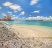 Strandküste gezeichnet mit Palmen der Verzerrungs-Küsten-, Eichenmode, der Depot-Insel-Küstengebäude und des Schiff-Hotels Campan stockfotos