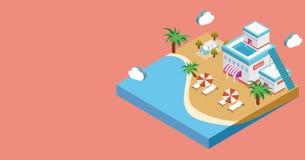 Strandküsten-Ferienillustration vektor abbildung