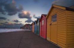 Strandkojor i Whitby [North Yorkshire, UK] Arkivbild