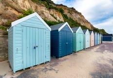 Strandkojor på Bournemouth royaltyfri fotografi