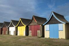 Strandkojor på Mablethorpe royaltyfria foton