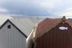 Strandkojor Southend-på-hav, Essex, England royaltyfri bild