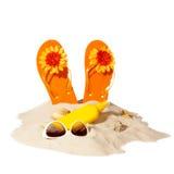 Strandkonzept mit Stapel des Sandes Lizenzfreies Stockfoto