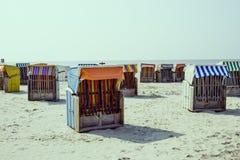 Strandkorb on beach Stock Photography