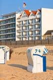 Strandkorb de présidences en osier de plage en Allemagne nordique Photos libres de droits