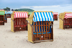 Strandkorb - typical beach chairs on the Baltic sea Royalty Free Stock Photo