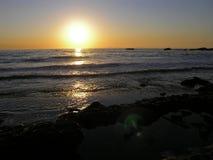 strandlaguna solnedgång Royaltyfri Foto